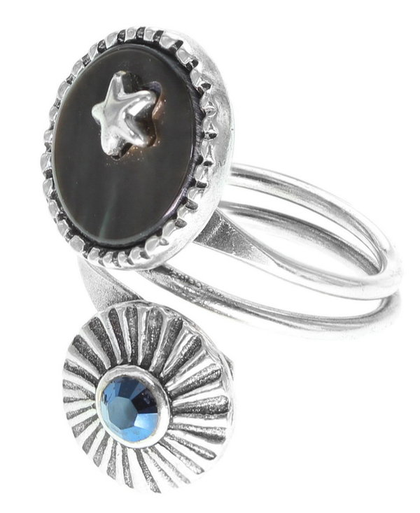 Franck Herval Fingerring Louna Duo silver blue