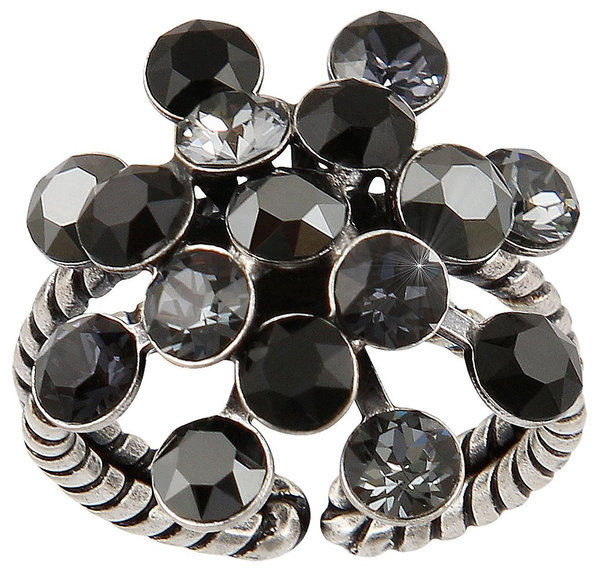 Konplott Fingerring Magic Fireball 21mm silver black