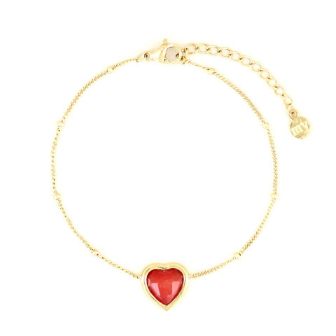 My Jewellery Armband Powerstones Heart Jade red gold
