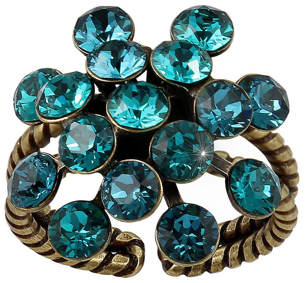 Konplott Fingerring Magic Fireball 21mm brass blue/green
