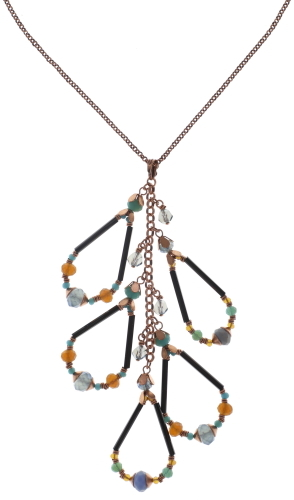 Konplott Halskette Beat of the Beads lang copper blue/brown