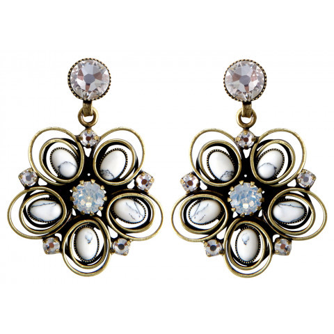 Konplott Ohrringe Boho Twist Flower brass white