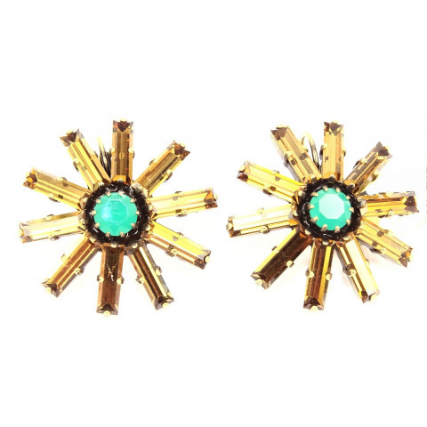 Konplott Ohrringe Spider Daisy-Daisy Spider Blume brass green/brown