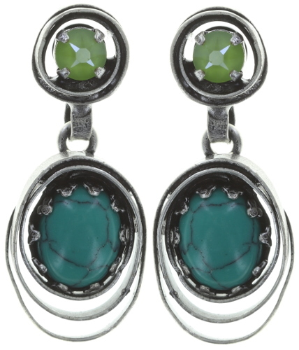 Konplott Ohrringe Boho Twist Flower silver green