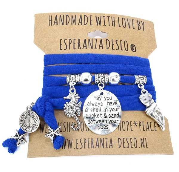 Esperanza-Deseo Armband Royal Blue Sealife silber