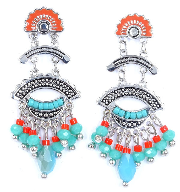 The Moshi Ohrringe Nicole silver turquoise/red mix