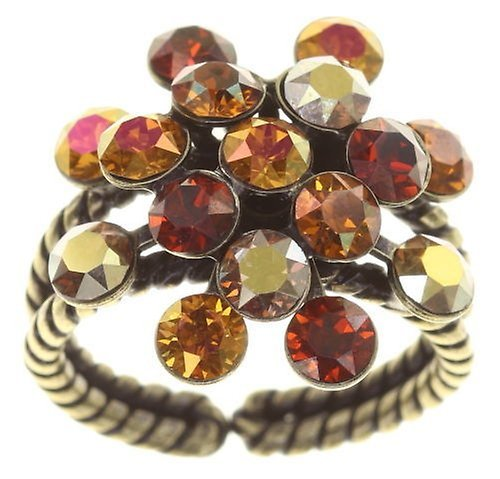 Konplott Fingerring Magic Fireball 21mm antique brass Amber Love Reddish Brown