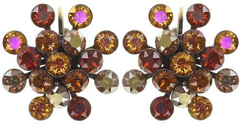 Konplott Ohrringe / Brisuren Magic Fireball 21mm brass Amber Love Reddish Brown