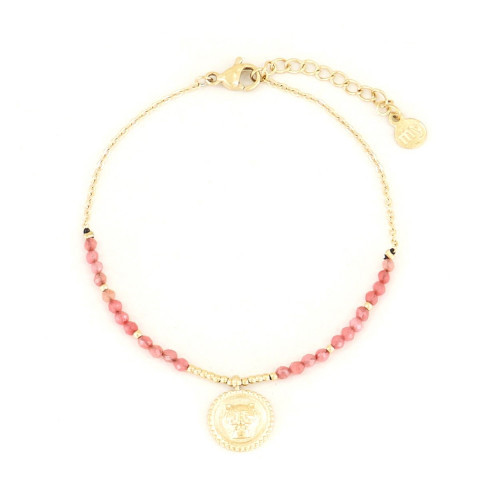 My Jewellery Armband Powerstones Coin Jade red gold
