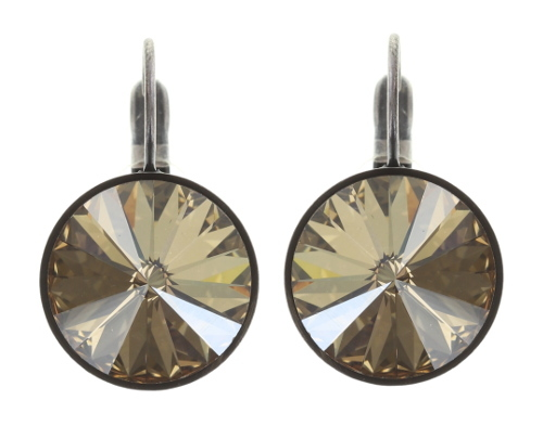 Konplott Ohrringe/Brisuren Rivoli 14mm silver beige crystal golden shadow